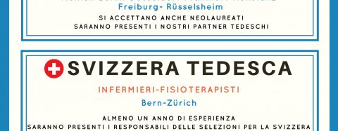 SELEZIONI PERSONALE SANITARIO PER LAVORARE IN GERMANIA E SVIZZERA TEDESCA